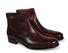 A.Testoni Men burgundy leather ankle boots 9 US (8 UK) NEW