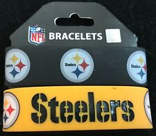 PITTSBURGH STEELERS SILICONE WRIST BANDS BRACELETS NEW 2 PACK