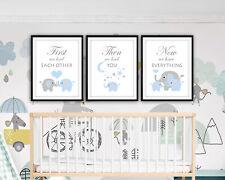 First We Had Each Other - Elephant Nursery Wall Art - Grey & Blue Nursery Prints