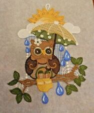 """Window Picture"" Lace From Germany Owl With Umbrella"