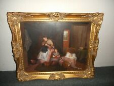 Old oil painting,{ Indoors scene - mother with her childeren, is signed }.