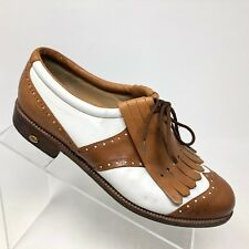 Walter Genuin Golf Shoe White Brown Leather Wingtip Kiltie Womens SIZE 8.5 B