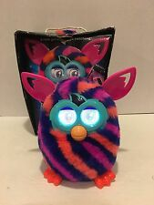 Furby Diagonal Stripes Furby Boom Plush Toy Orange, Navy and Pink Stripes w Box!