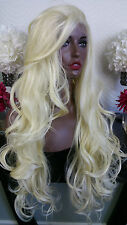 Beautiful Platinum Blonde Lace Front Wig Long Curly Heat Safe