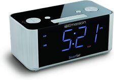 New ListingEmerson Dual Alarm Fm Clock Radio Smart Set Auto Dst Aux In Usb Charging