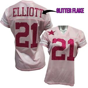Custom Womens Blinged Football Pink Jersey, Ezekiel Elliott