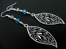 A PAIR OF  TIBETAN SILVER BLUE CRYSTAL LONG  DANGLY LEAF EARRINGS. NEW.