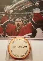 PATRICK ROY HOF SIGNED MONTREAL CANADIENS STANLEY PHOTO & GOLD GAME PUCK LOT COA