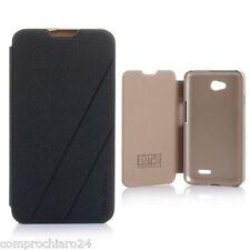 Cover Negra / Oro envoltura Eco-cuero Policarbonato para LG L70 - Flip