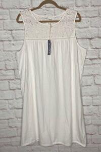 XL/1X New White Cotton Tee Shirt Knit Nightgown Eyelet Lace Sleeveless
