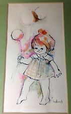 Vintage Watercolor Painting girl balloon pink green toddler nursery 12 inch