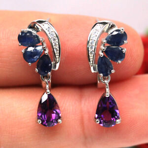 NATURAL BLUE SAPPHIRE AMETHYST & CZ EARRINGS 925 SILVER STERLING