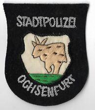 Polizei BAYERN Stadtpolizei  OCHSENFURT #B  Abzeichen handgest. Patch StaPo 60er