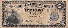 Philippines Islands  5 Pesos  1.1.1933  P 22   Circulated Banknote