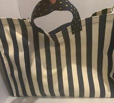 KBP large capacity striped canvas Blue/ White shopping bag