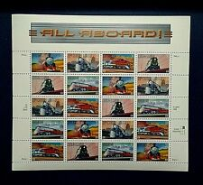 "SHEET OF 20 ""ALL ABOARD"" 33c STAMPS of 5 AMERICAN LUXURY TRAINS"