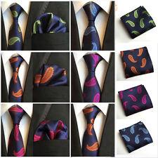 Men Classic Silk Paisley Tie Jacquard Woven Necktie Pocket Square Handkerchief