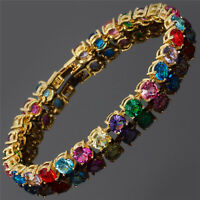 Xmas Round Cut Multi-Color Dainty Gemstone 18K Gold Plated Tennis Bracelet