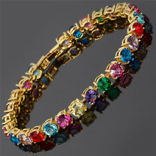 Xmas Round Cut Multi-Color Dainty Gemstone 18K Gold Plated Tennis Bracelet