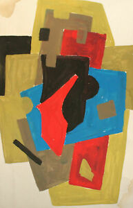 Vintage abstract cubist gouache painting