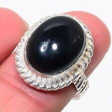 Radiant Black Onyx Gemstone 925 Sterling Silver Ring Size 8 3602