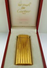 Cartier Paris Gas Lighter Oval Gold Plated With Box