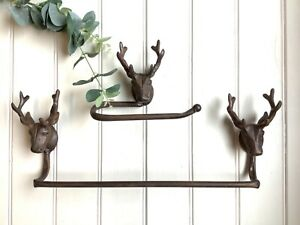 Vintage Style Metal Stag Head Towel Rail and Matching Toilet Roll Holder Set