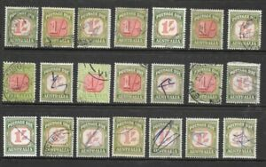Stamps Australia Bulk 1/- Postage Dues Selection x 21 good used/fine used