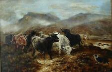 19th Century Highland Cattle & Perro en Misty paisaje pintura al óleo antigua