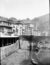 ONDARROA c. 1935 -  Vue sur le Village Pont Espagne - Négatif 6 x 4 - ESP 353
