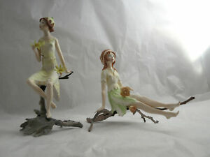 2 VTG figures ALBANY WORCESTER ENGLAND PORCELAIN & BRONZE FLOWER FAIRY + GIRL
