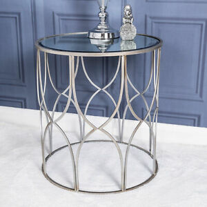 Large Silver Side Table Mirrored Metal Lamp Vintage Hallway Living Room Home