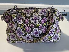 Vera Bradley Women's Brown Purple White Flowers Handbag Purse zipper pockets