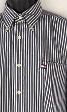 Vintage 90s Tommy Hilfiger Striped Button Up Dress Shirt Flag Logo Large