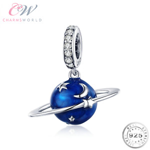 Planet Moon & Stars Charm Genuine 925 Sterling Silver & Blue 💞 Gift