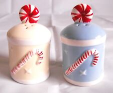 Sugar Cane Christmas Salt & Pepper Shaker Ceramic Collectible Santa Peppermint
