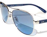 NEW* COACH HC7077 SILVER & Blue 58mm Aviator Blue Lens Sunglass L1015