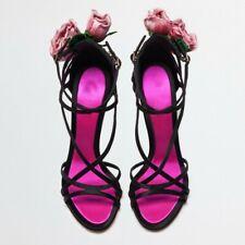 Ladies Satin Stilettos Heel Sandals Ankle Strap Peep Toe Floral Party Shoes Pump