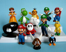 "Mario Bros & Friends Set Of 12  1"" - 2-1/2"" Birthday Cake Topper Figurines Set"