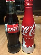 Statue of Liberty 125 Years Aluminum Glass New York Coca-Cola Coke 2 Bottle Set