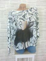 Oversize ITALY Strick Shirt Pulli Pullover Tunika Print 38 40 42 NEU P539