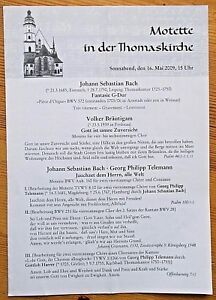 Motette in der Thomaskirche programme 26th May 2009 (in German)