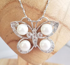Lucas Lameth Sterling Silver Butterfly Pendant Necklace Crystal & Real Pearls