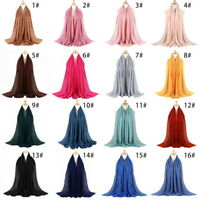 Women Linen Scarf Muffler Summer Beach Bubble Solid Muslim Hijab Head Scarf USA