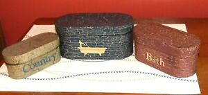 PRIMITIVE OVAL NESTING BOXES ANTIQUE LOOK COUNTRY BATH STACKING STORAGE SET OF 3