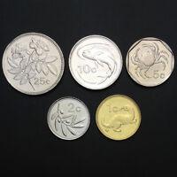 [M-2] Malta Set 5 Coins, 1 2 5 10 25 Cents, 1998-2005, UNC