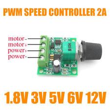 DC Motor 1.8V 3V 5V 6V 12V PWM Speed Controller 2A Potentiometer Knob Switch Set