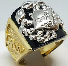 GOLD crab cancer mens ring real solid ONYX simulate diamond 10 ask 8 9 11 12