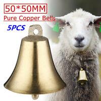 5X Brass Copper Bells Cow Horse Sheep Dog Animal Grazing Super Loud Farm Cattle