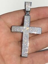 "Men's Real Solid 925 Silver Mens Large Cross 3ct Diamonds 2x1.5"" Hip Hop Pendant"